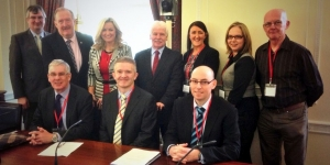Seated (l-r):  Donald Cairnduff; Dr. Neil McDougall; Gareth Hunter Standing (l-r): Tom Elliott (UUP); Pat Ramsey (SDLP); Jo-Anne Dobson (UUP); Sammy Douglas (DUP); Bernadette Maginnis (British Medical Association NI); Jayne Murray (British Heart Foundation NI); John Brown (NI Kidney Research)