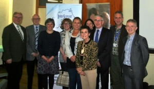 L to R Dr Michael Heneghan (Consultant Hepatologist), Gordon Cave,Jennifer Cairnduff, Eileen Hearst, Sharon Millen, Kay Duffy, Rachel Quinney-Mee, Donald Cairnduff, Tom McCready and Dr Neil McDougall at the AGM