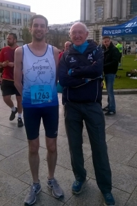 Philip at the start with his coach John Glover