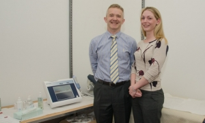 Dr McDougall and Carolyn who carried out the scans
