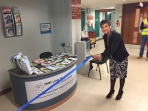 Kay Duffy proudly opens the Help-desk in Outpatients