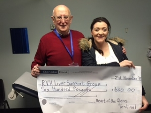 Deborah McKillop presents a cheque to Gordon Cave, President of the RVH Liver Support Group