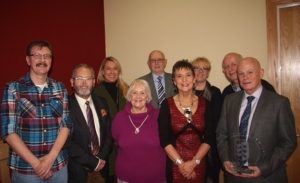 Back row, left to right; Dr Sharon Millen, Gordon Cave, Anya Toner and Seamus Cunningham. Front L to R Colin Kirkpatrick, Raymond Ferris, Anne Beatty, Kay Duffy and Professor O'Grady